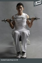 Dumbbell Seated Bicep Curl (B)