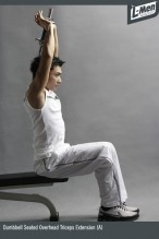 Dumbbell Seated Overhead Triceps Extension (A)