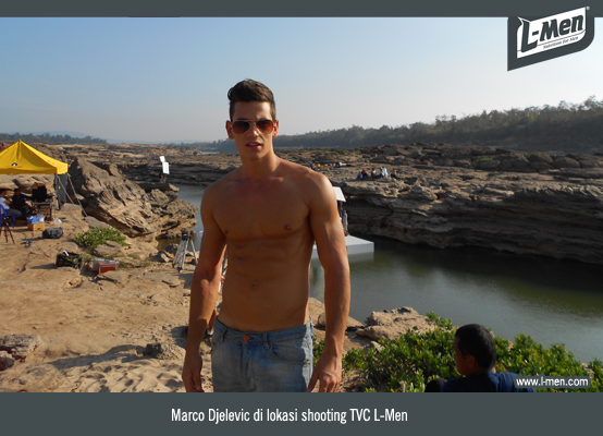 Marco Djelevic di lokasi shooting TVC L-Men